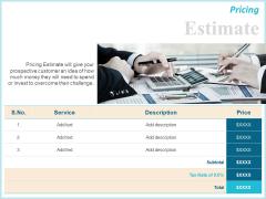 Corporate Pricing Estimate Ppt Ideas Sample PDF