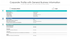 Corporate Profile With General Business Information Ppt Infographics Skills PDF