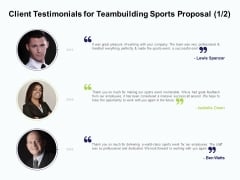 Corporate Sports Team Engagement Client Testimonials For Teambuilding Sports Proposal Success Topics PDF