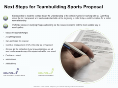 Corporate Sports Team Engagement Next Steps For Teambuilding Sports Proposal Icons PDF