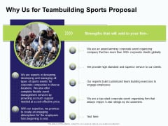 Corporate Sports Team Engagement Why Us For Teambuilding Sports Proposal Professional PDF