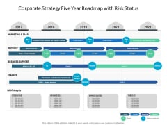 Corporate Strategy Five Year Roadmap With Risk Status Sample