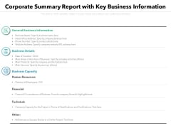 Corporate Summary Report With Key Business Information Ppt PowerPoint Presentation File Graphics Download PDF
