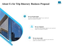 Corporate Travel Itinerary About Us For Trip Itinerary Business Proposal Ppt Model Introduction PDF