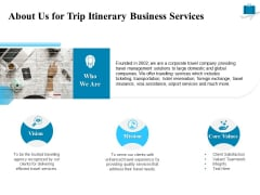 Corporate Travel Itinerary About Us For Trip Itinerary Business Services Ppt Gallery Background PDF