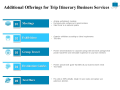 Corporate Travel Itinerary Additional Offerings For Trip Itinerary Business Services Diagrams PDF