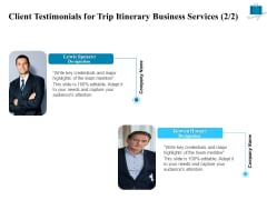 Corporate Travel Itinerary Client Testimonials For Trip Itinerary Business Services Company Information PDF