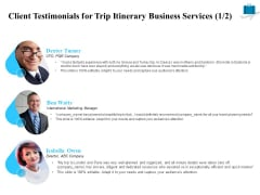 Corporate Travel Itinerary Client Testimonials For Trip Itinerary Business Services Infographics PDF
