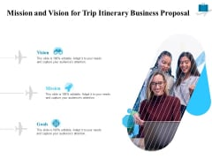 Corporate Travel Itinerary Mission And Vision For Trip Itinerary Business Proposal Pictures PDF