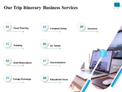 Corporate Travel Itinerary Our Trip Itinerary Business Services Ppt Show Backgrounds PDF