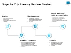 Corporate Travel Itinerary Scope For Trip Itinerary Business Services Ppt Infographics Slides PDF