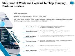 Corporate Travel Itinerary Statement Of Work And Contract For Trip Itinerary Business Services Guidelines PDF