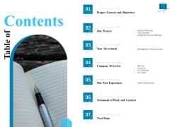 Corporate Travel Itinerary Table Of Contents Ppt Infographic Template Sample PDF