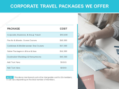 Corporate Travel Packages We Offer Ppt PowerPoint Presentation Model Files