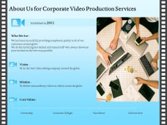 Corporate Video About Us For Corporate Video Production Services Icons PDF