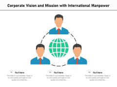 Corporate Vision And Mission With International Manpower Ppt PowerPoint Presentation File Pictures PDF
