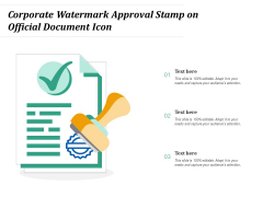 Corporate Watermark Approval Stamp On Official Document Icon Ppt PowerPoint Presentation Pictures Examples PDF