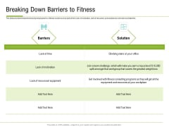 Corporate Wellness Consultant Breaking Down Barriers To Fitness Brochure PDF