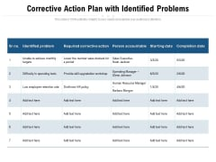 Corrective Action Plan With Identified Problems Ppt PowerPoint Presentation Layouts Design Inspiration PDF