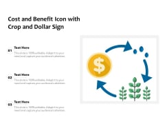 Cost And Benefit Icon With Crop And Dollar Sign Ppt PowerPoint Presentation Portfolio Show PDF