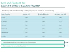Cost And Payment For Clean Bid Window Cleaning Proposal Ppt Model Icon PDF