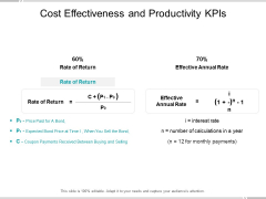 Cost Effectiveness And Productivity Kpis Ppt Powerpoint Presentation Portfolio Demonstration