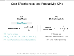 Cost Effectiveness And Productivity Kpis Ppt PowerPoint Presentationmodel Brochure