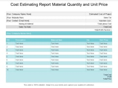 Cost Estimating Report Material Quantity And Unit Price Ppt PowerPoint Presentation Styles Graphics Download