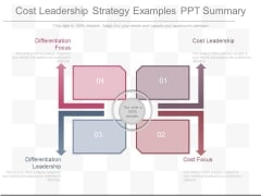 Cost Leadership Strategy Examples Ppt Summary