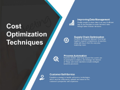 Cost Optimization Techniques Ppt PowerPoint Presentation Portfolio Professional
