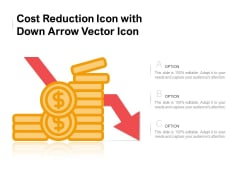 Cost Reduction Icon With Down Arrow Vector Icon Ppt PowerPoint Presentation Pictures Maker