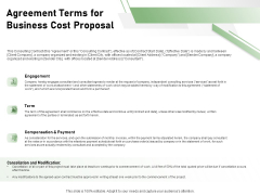 Cost Savings To A Company Agreement Terms For Business Cost Proposal Slides PDF