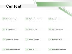 Cost Savings To A Company Content Slides PDF