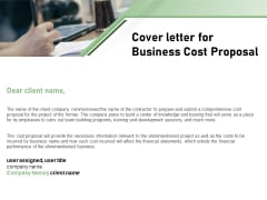 Cost Savings To A Company Cover Letter For Business Cost Proposal Brochure PDF