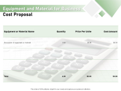 Cost Savings To A Company Equipment And Material For Business Cost Proposal Pictures PDF