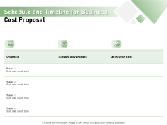 Cost Savings To A Company Schedule And Timeline For Business Cost Proposal Structure PDF