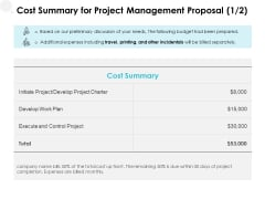 Cost Summary For Project Management Proposal Execute Ppt PowerPoint Presentation Ideas Structure