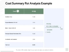 Cost Summary Roi Analysis Example Ppt PowerPoint Presentation Show Example File