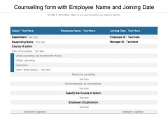Counselling Form With Employee Name And Joining Date Ppt PowerPoint Presentation Outline Tips PDF
