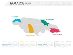 Country Jamaica Map With Four States Highlighted Powerpoint Slides