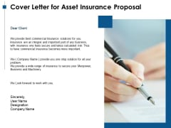 Cover Letter For Asset Insurance Proposal Ppt PowerPoint Presentation Slides Graphics Template