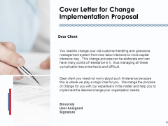 Cover Letter For Change Implementation Proposal Ppt PowerPoint Presentation Icon Guidelines