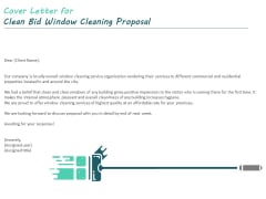 Cover Letter For Clean Bid Window Cleaning Proposal Ppt Summary Information PDF