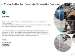 Cover Letter For Concrete Sidewalks Proposal Ppt PowerPoint Presentation File Backgrounds