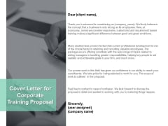 Cover Letter For Corporate Training Proposal Ppt PowerPoint Presentation Infographics Example Introduction