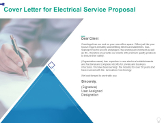 Cover Letter For Electrical Service Proposal Ppt PowerPoint Presentation Outline Graphics Design