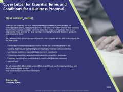 Cover Letter For Essential Terms And Conditions For A Business Proposal Ppt PowerPoint Presentation Styles Slides PDF