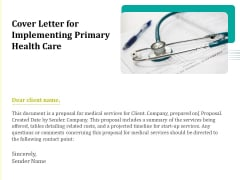 Cover Letter For Implementing Primary Health Care Ppt Icon Example Introduction PDF
