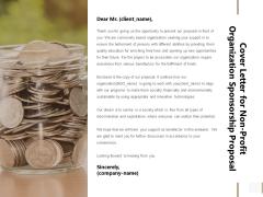Cover Letter For Non Profit Organization Sponsorship Proposal Mockup PDF