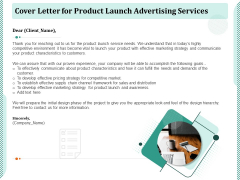 Cover Letter For Product Launch Advertising Services Ppt PowerPoint Presentation Layouts Guide PDF